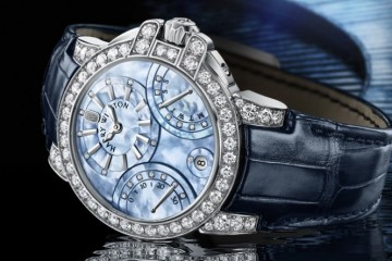 A Grand Classic Diamonds Harry Winston Ocean Biretrograde Fake Watch with Shimmering Blue Mother-of-Pearl