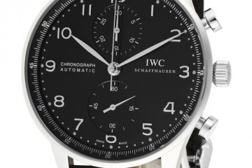 IWC Portuguese Chronograph Black Dial Replica Watch - IW371447