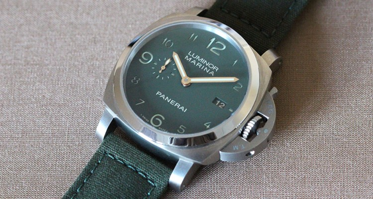 ff707c02d94 The 44MM Steel Panerai Luminor Marina 1950 3 Days Green Dial Watch Replica. Swiss  Watches Replica